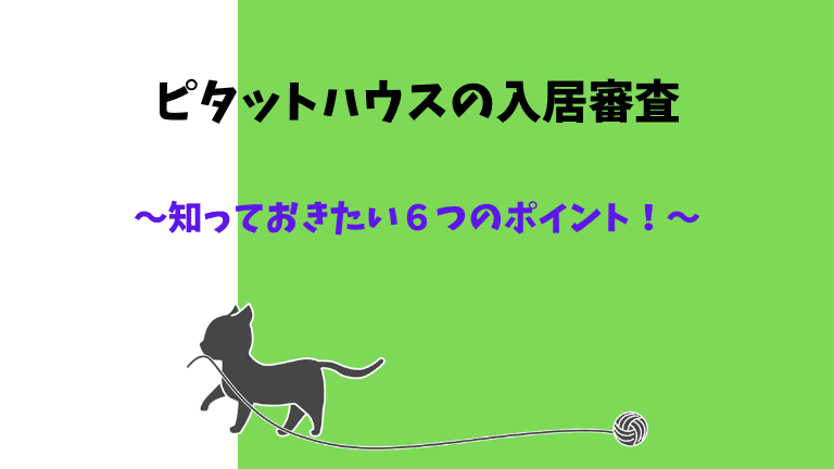 【ピタットハウス入居審査】知っておきたい6つのポイント!